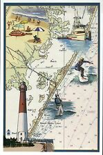 Long Beach Island New Jersey Nautical Chart Lighthouse etc - Modern Map Postcard