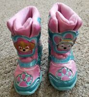 PAW PATROL Pink and Blue Waterproof Winter Snow Boots Toddler Girls Size 6