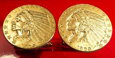 1929 Gold Indian Head Feather Headdress $5 Half Eagle Coin Cufflinks + Gift Box!