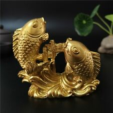 Gold Chinese Feng Shui Manual Carved Animals Fish Figurines Crafts Ornaments