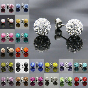 Earring  Czech Crystal Disco Clay Ball Stud Shamballa Earrings - 8mm 16 Colours