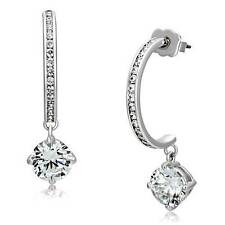 3W530 HOOPS HALF MOON HOOPS HOOP CHARM DANGLING DROP SIMULATED DIAMOND EARRINGS