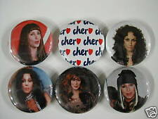 CHER AS SONNY & CHER 6 NEW PINS Pinbacks Buttons WS