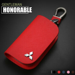 Cross Pattern Leather Car Remote Key Chain Holder Case Bag Fit For Mitsubishi