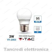 Lampadina led V-TAC 3W = 25W E27 bianco naturale 4500K VT-2053 minigolobo G45