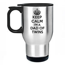 Keep Calm I'm a Dad of Twins Travel Thermal Mug Cup Gift Father Birth Daddy