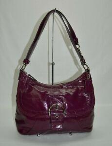 Coach Soho Patent Leather Plum Buckle Hobo Shoulder Bag F19709