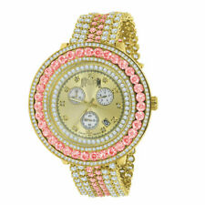Real Diamond Gold Tone Men's Custom Big Face Multicolored Removable Bezel Watch