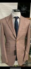 Rose super 150 Cerruti windowpane wool suit with wide Tom Ford peak lapel
