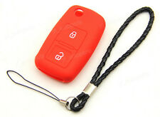 Red Silicone Case Cover For VW Golf MK4 Bora Polo Remote Flip Key 2 Buttons 2BT