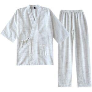 Japanese Men Pajamas Set Cotton Striped Kimono Top Pants Sleepwear Nightgown New