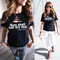 USA Thou Shall Not Try Me T Shirt Celebrity Fashion Top New Womens Slogan Summer