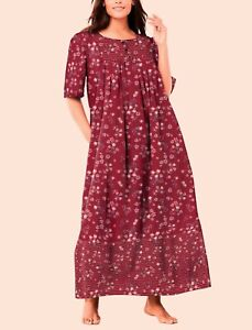 Only Necessities Plus Size Pomegranate Floral Mixed Print Long Lounger Sz 2X