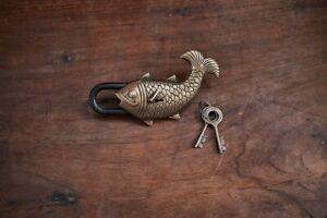 Antique Brass Fish Padlock with Key Novelty Fun Gift Elegant Design Nkuku