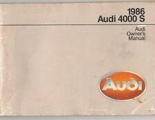 1986 Audi 4000S Owner's Manual