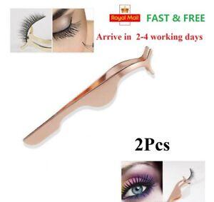 2X Eyelashes Tweezer Applicator False Magnetic Fake Lashes Cosmetic Tool Clip