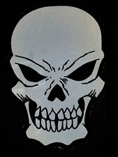 BIKER PATCH Reflective Skull Embroidered Iron on Patch - 8x11 inch NEW NICE