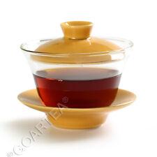 130ml Laranja Vidro Transparente Porcelana resistente ao calor Kung Fu Gaiwan Pires Xícara De Chá
