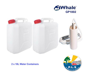 WHALE GP1002 12V Submersible Water Pump + 2 x 10L Jerry Can VW Campervan Camping