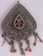 Afghan Turkman sterling silver Coral vintage Tribal pendant HUGE ethnic unusual