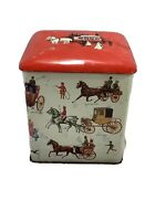Vintage Decorative Tin Insulated Top Carriages Red Ivory
