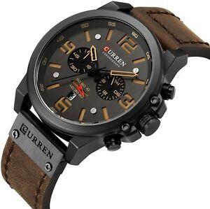 CURREN Military Men's Watch Sport Chronograph Leather Infantry Reloj Para Hombre
