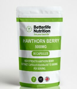 Hawthorn Berry Extract 5000mg x 90 Capsules Strongest on Ebay Natural Formula