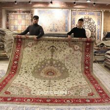 Clearance! Yilong 9'x12' Large Hand Knotted Wool Silk Rugs Bedroom Carpet 1359