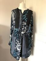 Warehouse Blue Floral Tunic Shirt Dress Size 12 Long Sleeves Tie Belt Summer