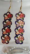 Large Cloisonne Enamel Flower Drop/Dangle Earrings
