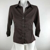Banana Republic Women Stretch 3/4 Sleeve Button Front Collared Blouse Sz M Brown