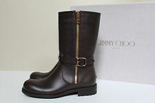 New sz 10.5 / 40.5 Jimmy Choo Durum Brown Leather Side Zip Moto Biker Boot Shoes