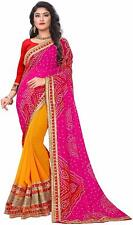 Women's Georgette Rajasthani Bandhani Zari Lace Work Saree With Blouse