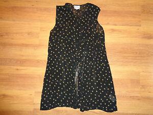THE MASAI CLOTHING BLACK SHEER STAR PRINT SLEEVELESS TUNIC TOP-M,12-UK