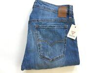 Guess Homme Jeans Moulant Bleu Clair Jeans Destroy Détails Taille 32