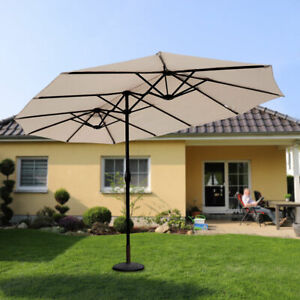 270x460cm Garten Doppel Sonnenschirm Terrasse Strand Pool Marktschirm Schirme
