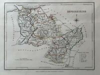 1848 Denbighshire, Wales Original Antique Hand Coloured Map 172 Years Old