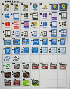 25x sticker / label for pc laptop  25 STICKERS WINDOWS 7 8 10 INTEL AMD NVIDIA