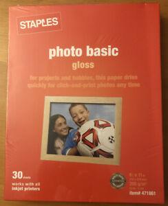 STAPLES Paper * Photo Basic Gloss 8.5 X 11 * 30 Sheet Pack NEW SEALED