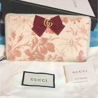 Rare Japan limited item Gucci GG Ribbon Zip Around Wallet Purse From JAPAN F/S