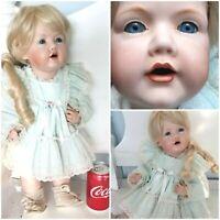 """Large Antique Reproduction JDK Kestner237 Hilda Doll 19""""All Bisque Toddler Body"""
