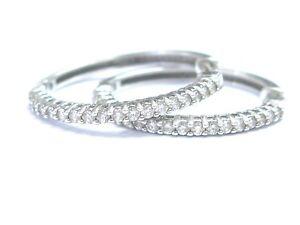 "18KT Round Cut Diamond Shared Prong White Gold Hoop Huggie Earrings .90Ct 1"""