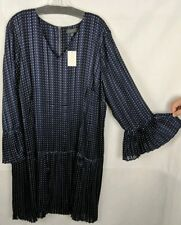 THE LIMITED® Plus Size 18W Eclipse Astral Aura Pleated Dress Blue NEW $109
