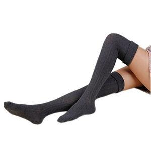 Black Women Socks Soft Cable Leggings Thigh-High Knit Over Winter Boot Knee Long
