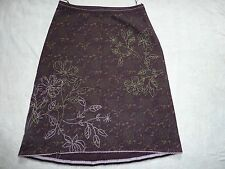 WHITE STUFF SIZE 12 BROWN LINED COTTON CALF LENGTH FLORAL SKIRT VGC