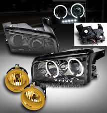 06-09 DODGE CHARGER HALO LED SMOKE PROJECTOR HEAD LIGHT W/YELLOW DRIVING FOG KIT