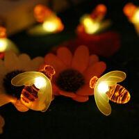 LED Solar Garden Decor Fairy Lights Outdoor Waterproof Christmas Honey Bee Lamps