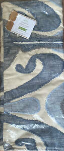"""Pottery Barn Kenmare Ikat Embroidered Lumbar Pillow Cover ~ 16"""" x 26"""" ~ Blue Mul"""