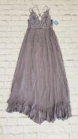 Free People Adella Crocheted Detail Slate smocked back long dress maxi S NWT$128