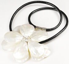 "Natural White Mother Of Pearl Flower Pendant Handcrafted Leather Necklace 19""*"